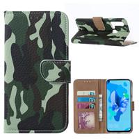 Leger Camouflage print lederen Bookcase hoesje voor de Huawei P20 Lite (2019)