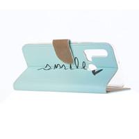 Smile print lederen Bookcase hoesje voor de Huawei P20 Lite (2019) - Mintgroen