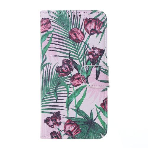 Botanische Rozen print lederen Bookcase hoesje voor de Huawei P20 Lite (2019)