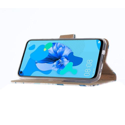 Botanische Planten print lederen Bookcase hoesje voor de Huawei P20 Lite (2019)