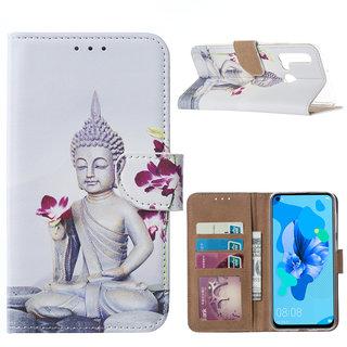 Buddha print lederen Bookcase hoesje voor de Huawei P20 Lite (2019)