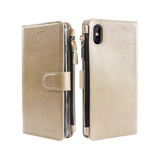 Portemonnee Case Apple iPhone X hoesje - Goud