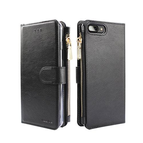 Xssive Portemonnee Case Apple iPhone 8 Plus hoesje - Zwart