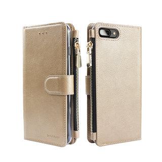 Portemonnee Case Apple iPhone 8 Plus hoesje - Goud