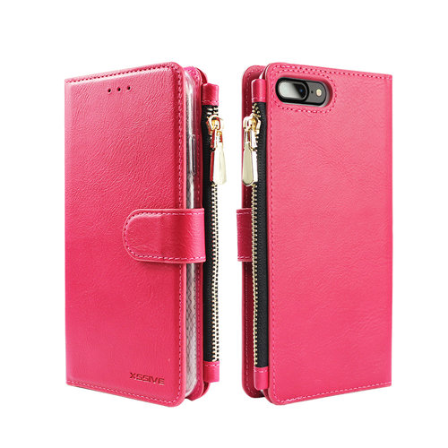 Xssive Portemonnee Case Apple iPhone 8 Plus hoesje - Roze