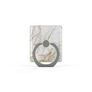 Telefoon Ring houder / Ring standaard universeel - Carrara Goud Marmer print