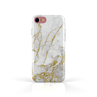 Fashion Case Apple iPhone 8 hoesje - Carrara Goud Marmer print