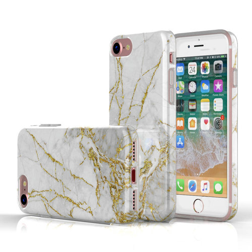 Xssive Fashion Case Apple iPhone 8 hoesje - Carrara Goud Marmer print
