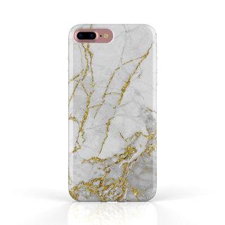 Fashion Case Apple iPhone 8 Plus hoesje - Carrara Goud Marmer print
