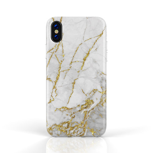 Xssive Fashion Case Apple iPhone XR hoesje - Carrara Goud Marmer print