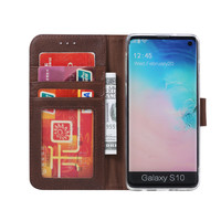 Echt lederen Bookcase Samsung Galaxy S10 hoesje - Bruin (100% Echt leren hoesje)