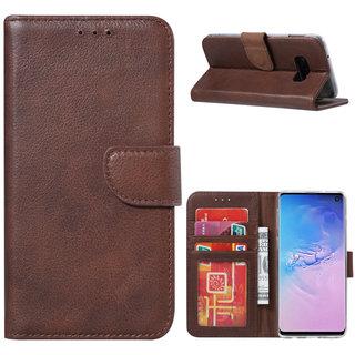 Echt lederen Bookcase Samsung Galaxy S10E hoesje - Bruin (100% Echt leren hoesje)