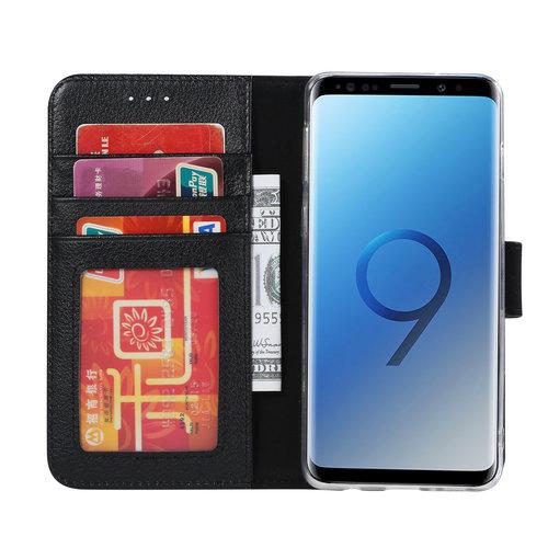 Echt lederen Bookcase Samsung Galaxy S9 hoesje - Zwart (100% Echt leren hoesje)