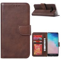 Echt lederen Bookcase Samsung Galaxy S10 Plus hoesje - Bruin (100% Echt leren hoesje)