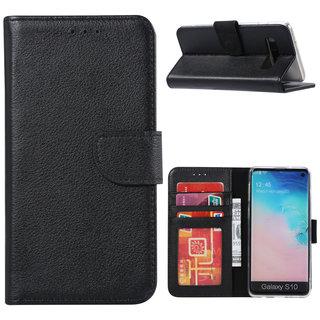 Echt lederen Bookcase Samsung Galaxy S10 Plus hoesje - Zwart (100% Echt leren hoesje)