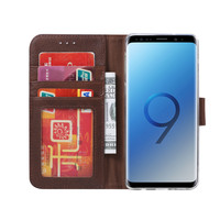 Echt lederen Bookcase Samsung Galaxy S9 Plus hoesje - Bruin (100% Echt leren hoesje)