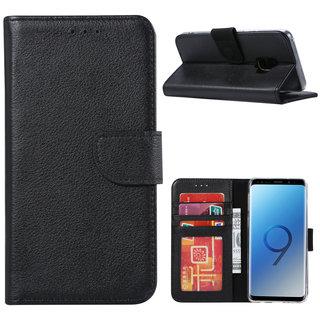 Echt lederen Bookcase Samsung Galaxy S9 Plus hoesje - Zwart (100% Echt leren hoesje)