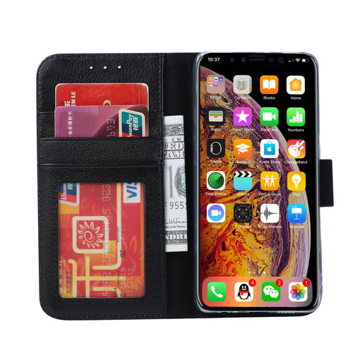 Echt lederen Bookcase Apple iPhone XS hoesje - Zwart (100% Echt leren hoesje)