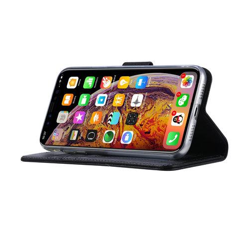 Echt lederen Bookcase Apple iPhone XR hoesje - Zwart (100% Echt leren hoesje)