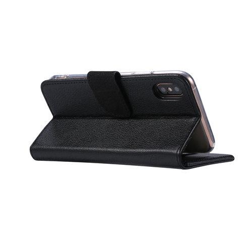 Echt lederen Bookcase Apple iPhone X hoesje - Zwart (100% Echt leren hoesje)