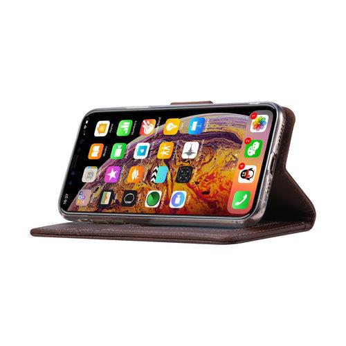 Echt lederen Bookcase Apple iPhone X hoesje - Bruin (100% Echt leren hoesje)