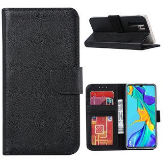 Echt lederen Bookcase Huawei P30 Pro hoesje - Zwart (100% Echt leren hoesje)