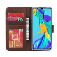 Echt lederen Bookcase Huawei P30 Pro hoesje - Bruin (100% Echt leren hoesje)