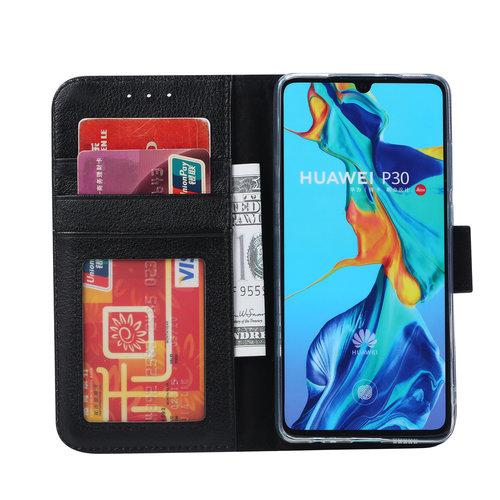 Echt lederen Bookcase Huawei P30 hoesje - Zwart (100% Echt leren hoesje)