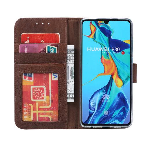 Echt lederen Bookcase Huawei P30 hoesje - Bruin (100% Echt leren hoesje)