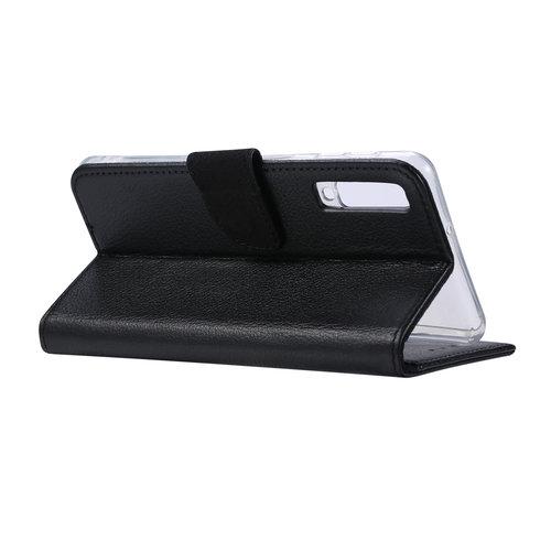Echt lederen Bookcase Samsung Galaxy A7 2018 hoesje - Zwart (100% Echt leren hoesje)