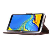 Echt lederen Bookcase Samsung Galaxy A7 2018 hoesje - Bruin (100% Echt leren hoesje)