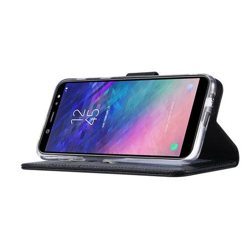 Echt lederen Bookcase Samsung Galaxy A6 2018 hoesje - Zwart (100% Echt leren hoesje)