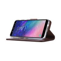 Echt lederen Bookcase Samsung Galaxy A6 2018 hoesje - Bruin (100% Echt leren hoesje)
