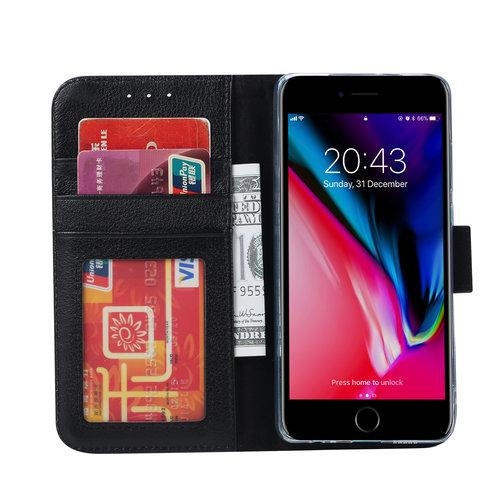 Echt lederen Bookcase Apple iPhone 8 Plus hoesje - Zwart (100% Echt leren hoesje)
