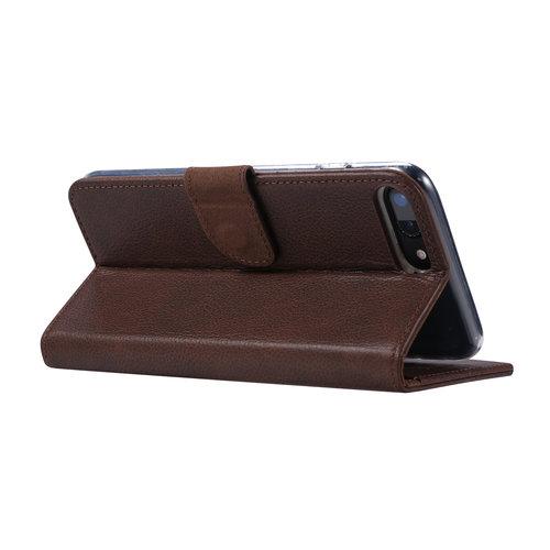 Echt lederen Bookcase Apple iPhone 7 Plus hoesje - Bruin (100% Echt leren hoesje)