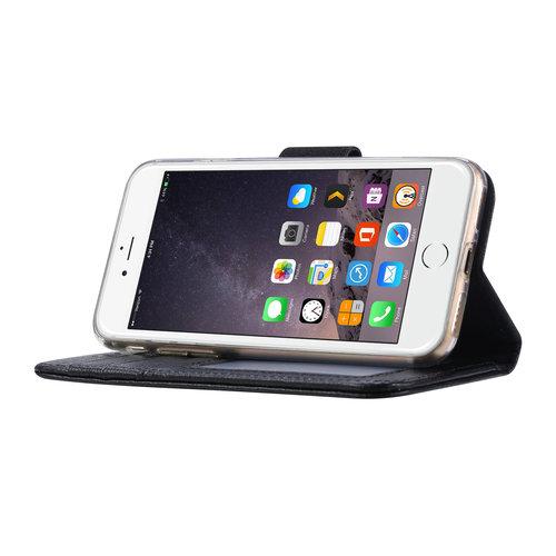 Echt lederen Bookcase Apple iPhone 8 hoesje - Zwart (100% Echt leren hoesje)
