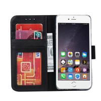 Echt lederen Bookcase Apple iPhone 7 hoesje - Zwart (100% Echt leren hoesje)