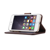 Echt lederen Bookcase Apple iPhone 7 hoesje - Bruin (100% Echt leren hoesje)