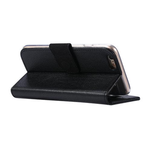 Echt lederen Bookcase Apple iPhone 6 / 6S hoesje - Zwart (100% Echt leren hoesje)