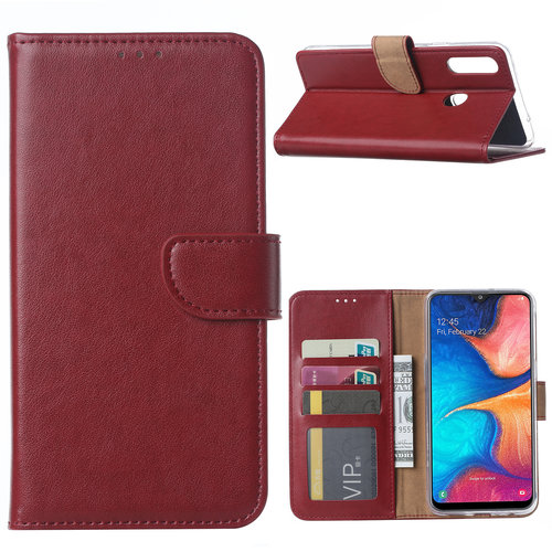 Bookcase Samsung Galaxy A20S hoesje - Bordeauxrood