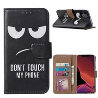 Don't Touch My Phone print lederen Bookcase hoesje voor de Apple iPhone 11 - Zwart