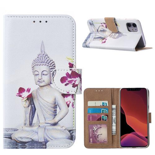 Buddha print lederen bookcase hoesje voor de Apple iPhone 11 - Wit