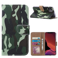 Leger Camouflage print lederen Bookcase hoesje voor de Apple iPhone 11