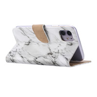 Marmer print lederen Bookcase hoesje voor de Apple iPhone 11 - Wit