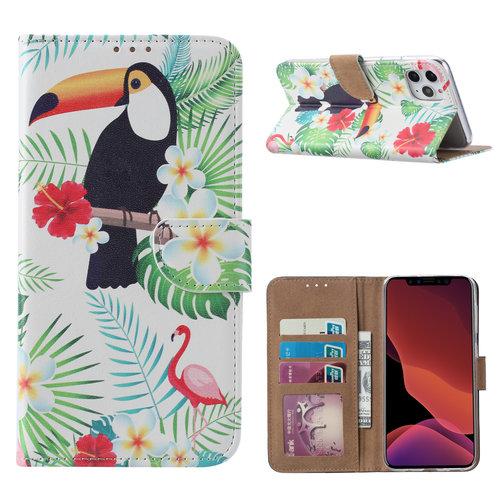 Toekan print lederen Bookcase hoesje voor de Apple iPhone 11 Pro - Wit