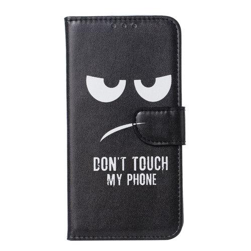 Don't Touch My Phone print lederen Bookcase hoesje voor de Apple iPhone 11 Pro - Zwart