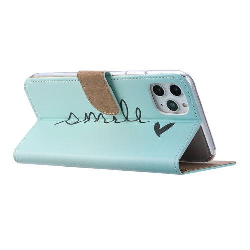 Smile print lederen Bookcase hoesje voor de Apple iPhone 11 Pro - Mintgroen