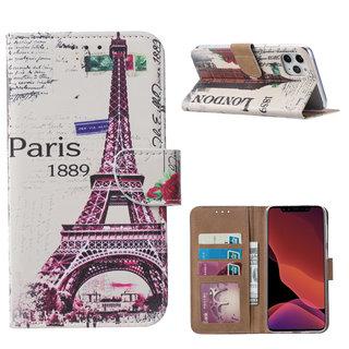 Parijs print lederen Bookcase hoesje voor de Apple iPhone 11 Pro - Wit