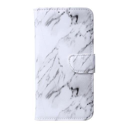 Marmer print lederen Bookcase hoesje voor de Apple iPhone 11 Pro - Wit