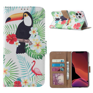 Toekan print lederen Bookcase hoesje voor de Apple iPhone 11 Pro Max - Wit